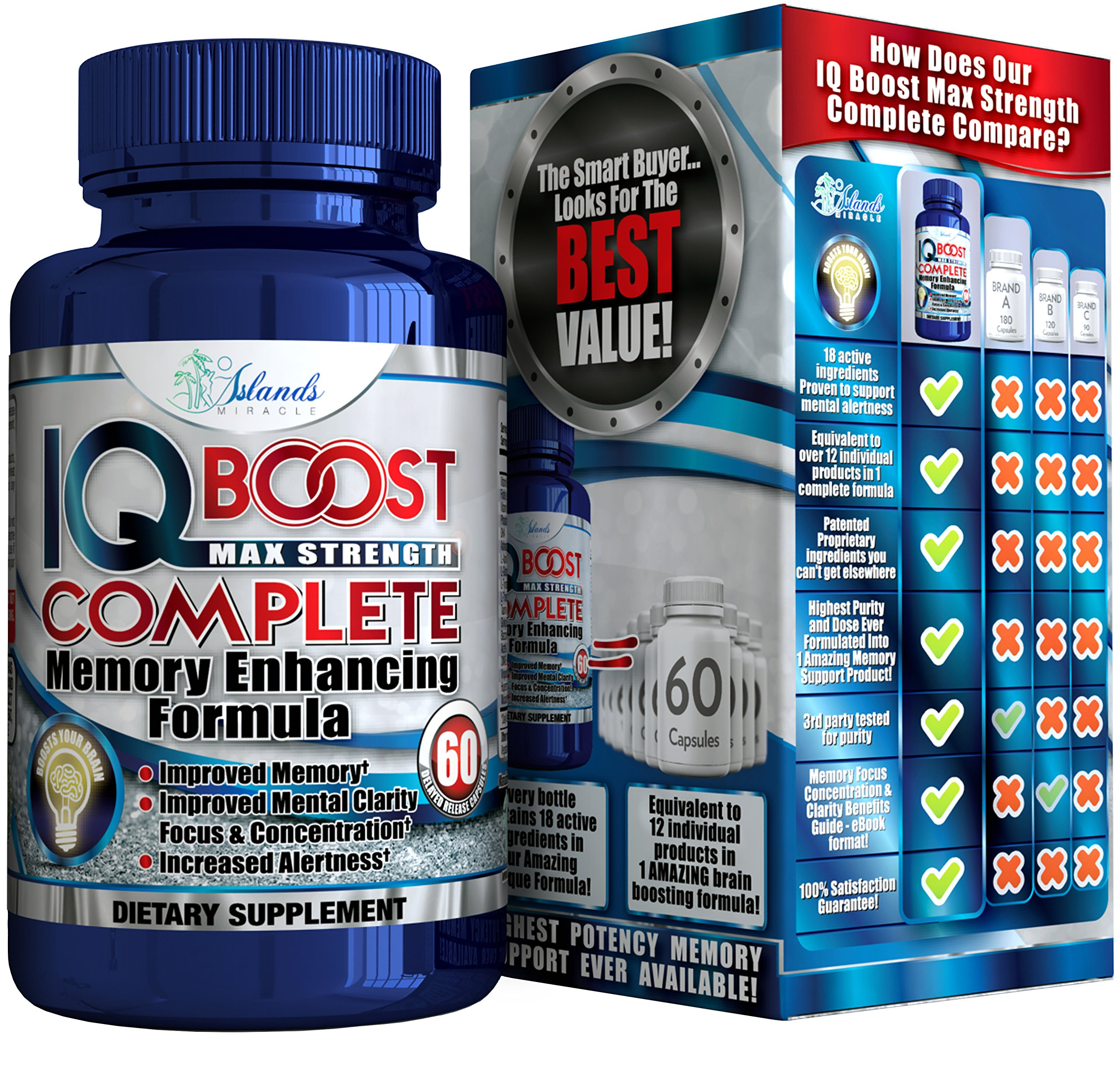 Nootropics Brain Boost with L Theanine Ginkgo biloba Helps Memory, Focus, Energy, Clarity. No Caffeine No Jitters Mind Booster Pills Safe and Natural Alternative Supplements