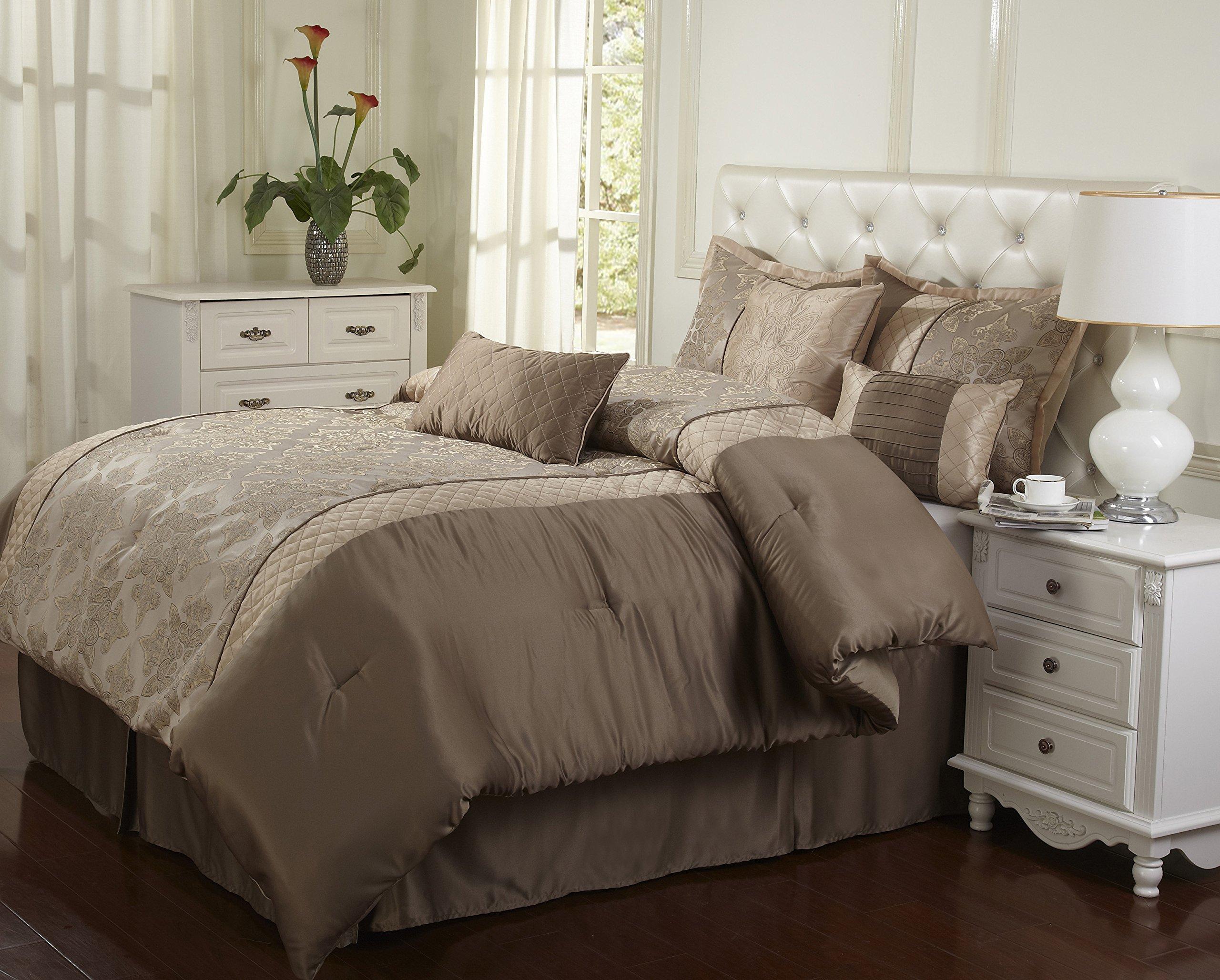 Nanshing America Montage 7 Piece Comforter Set, California King, Taupe