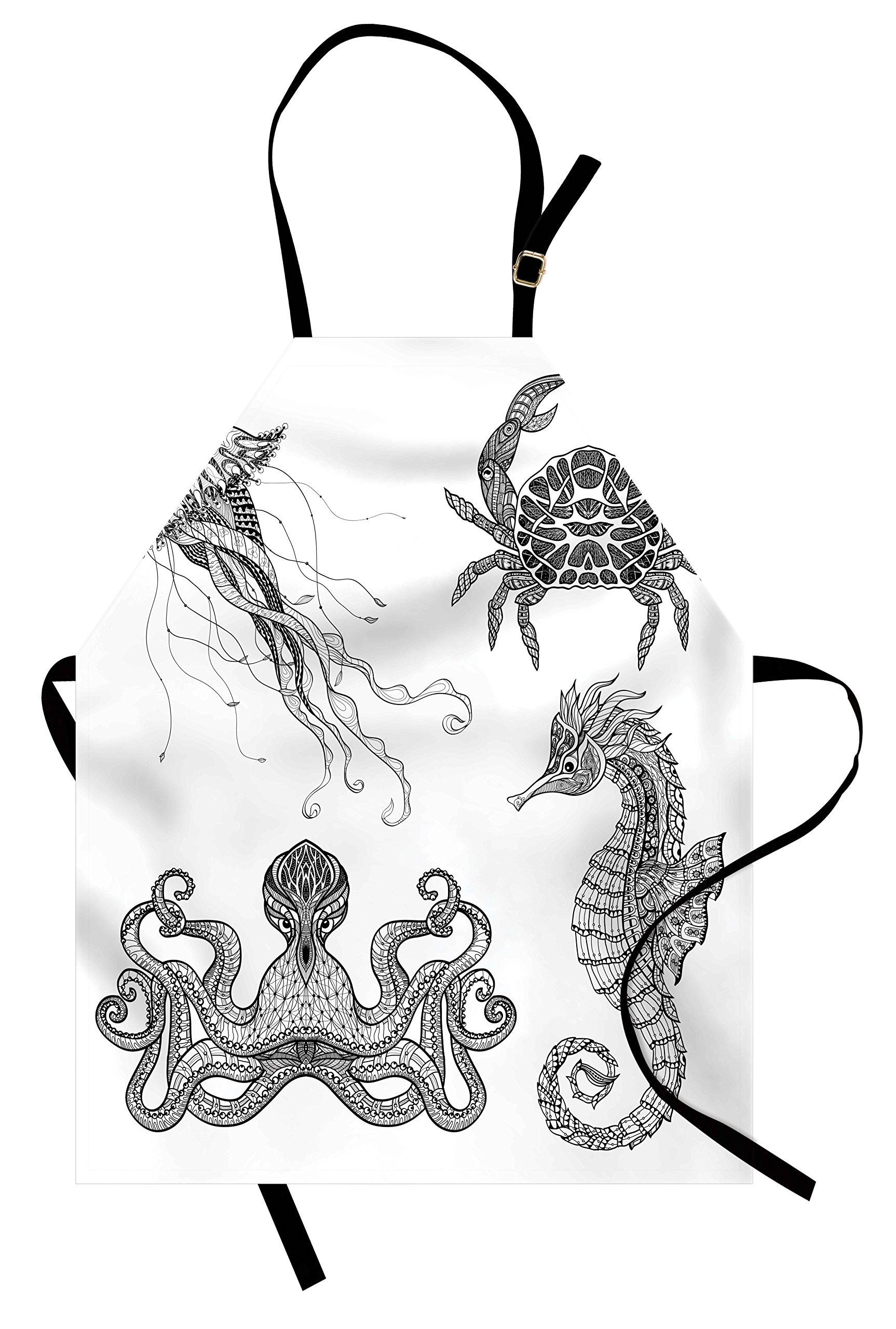 Lunarable Sketchy Apron, Underwater Animals Octopus Crab Seahorse and Jellyfish Artful Sketchy Navy Design, Unisex Kitchen Bib Apron with Adjustable Neck for Cooking Baking Gardening, Black White