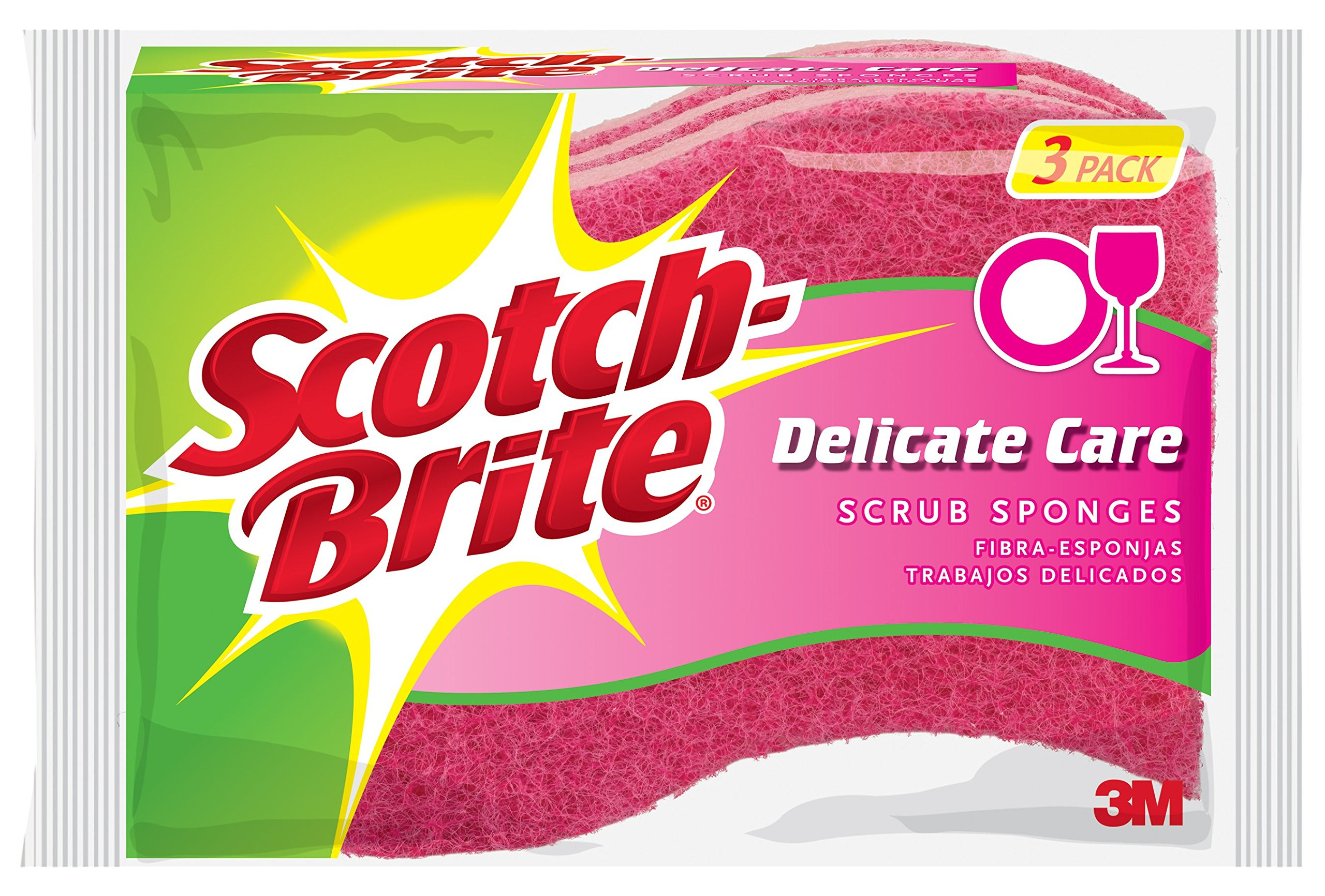 Scotch-Brite Delicate Care Scrub Sponge, 3-Sponges/Pk, 8-Packs (24 Sponges Total) by Scotch-Brite (Image #1)