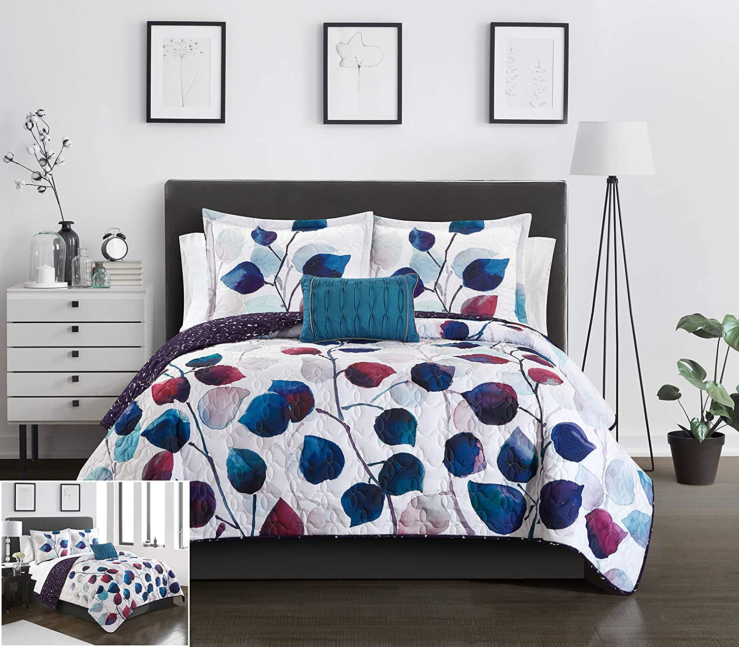 Chic Home Alecto 4 Piece Reversible Quilt Set Contemporary Watercolor Floral Theme Design Bedding - Decorative Pillow Shams Included, King, Multi Color