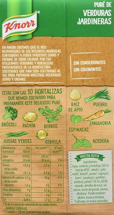 Knorr Las Rústicas Puré Verduras Jardineras - Pack de 12 x 500 ml (Total: 6000 ml)