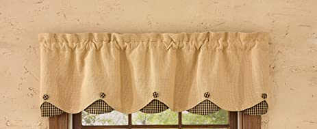 Park Designs Burlap U0026 Check Lined Scalloped Valance, 58 X 14u0026quot;, ...