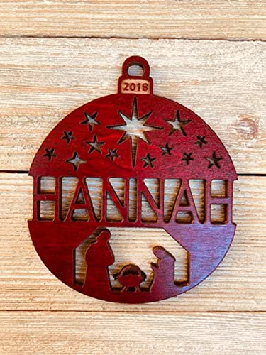 personalized nativity scene 2018 christmas ornament from solid wood