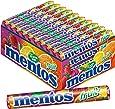 Mentos Fruit Dragees | Frucht Geschmack mit Orange Zitrone Erdbeere | Karton mit 40 Rollen Bonbons | Multipack Kaubonbons