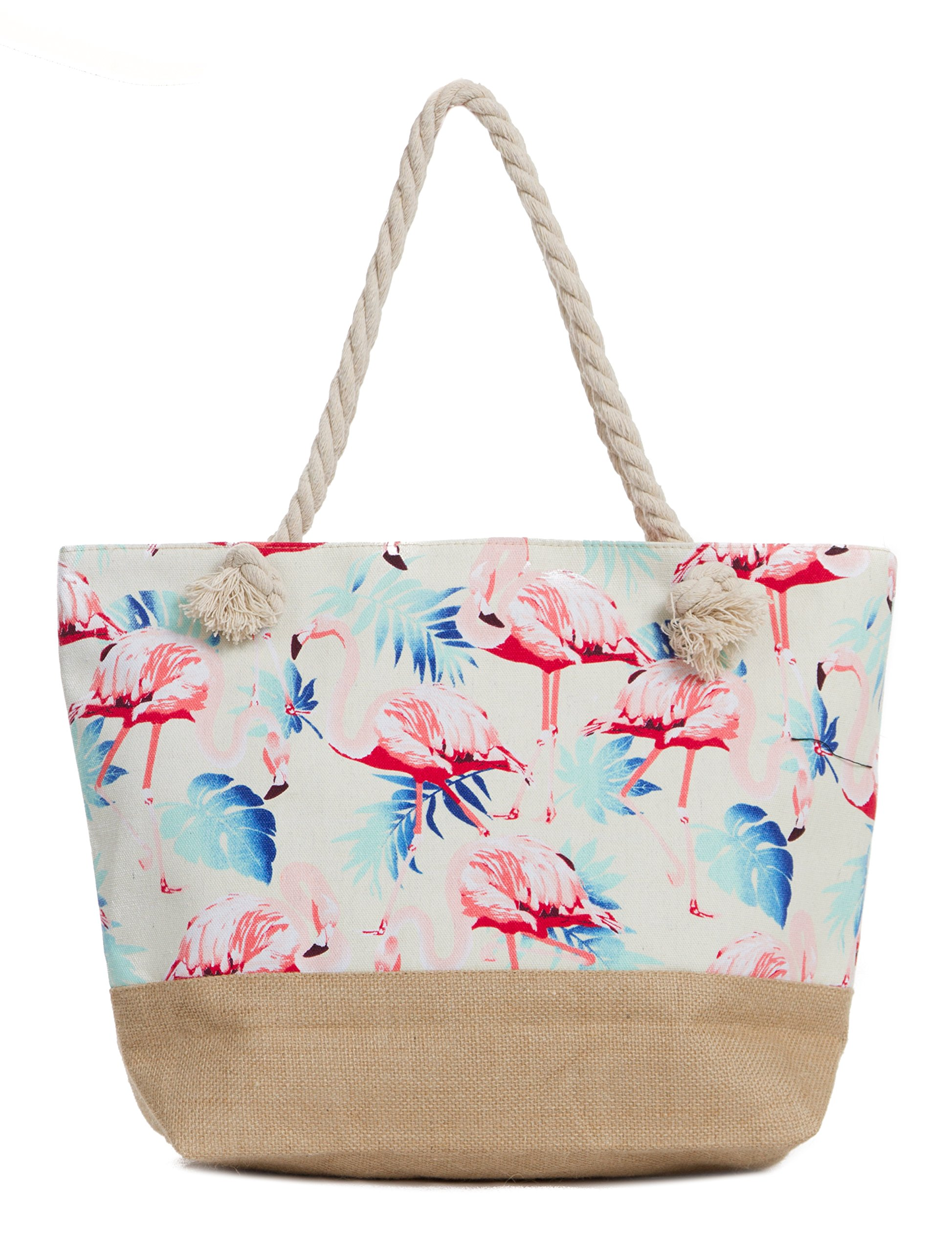 Leisureland Canvas Tote Beach Bag, Water Resistant Shoulder Tote Bag (L20 xH15 xW6, Flamingo White)