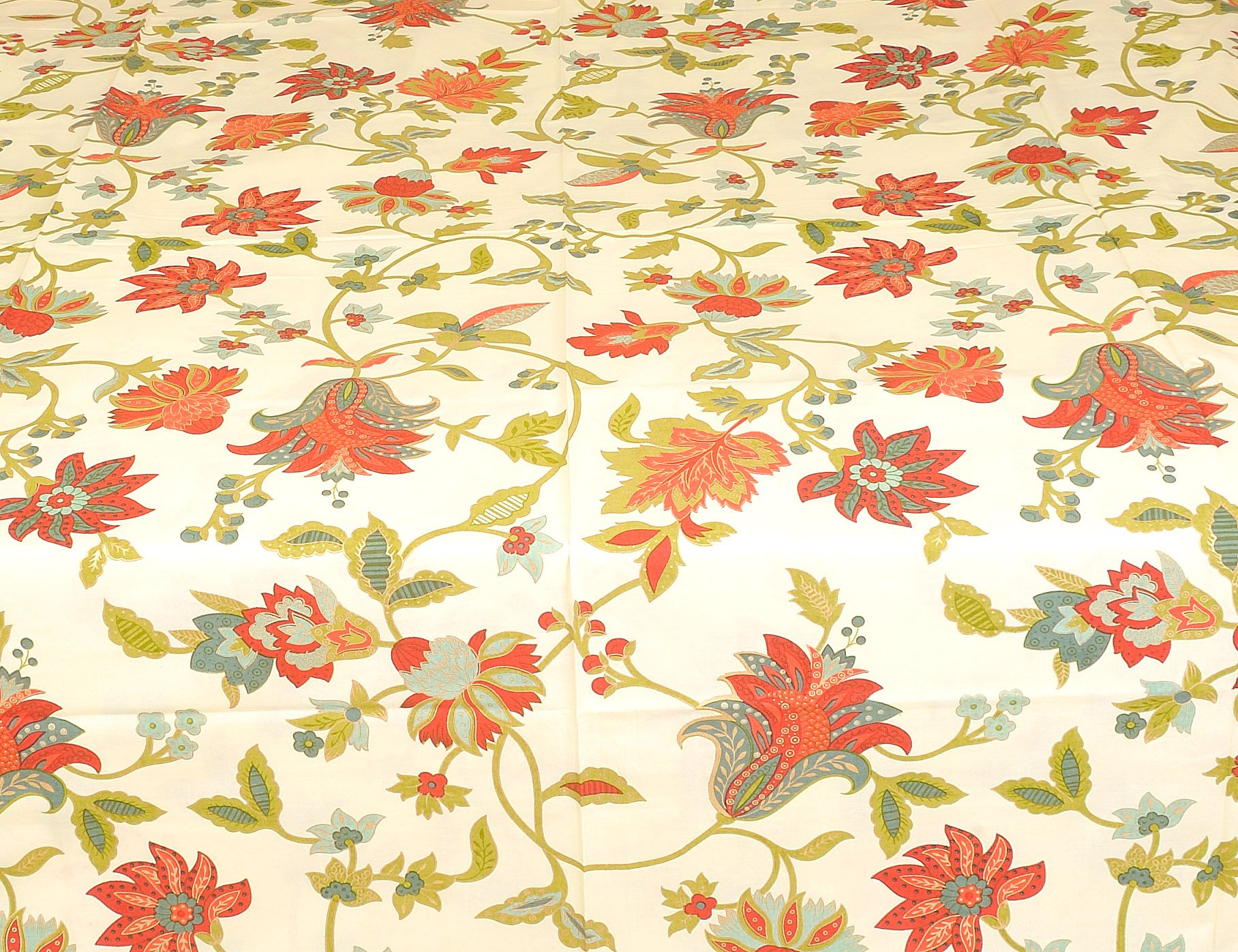 Exotic India Bedspread from Sanganer Printed Flowers Leaves - Pure Cotton Pillow Covers - Color Cream Red Color by Exotic India (Image #2)