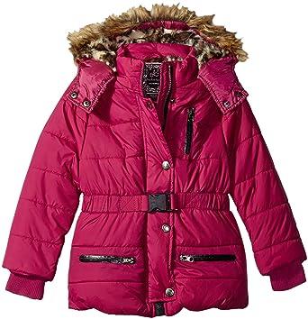 ae01a6c976e2 Amazon.com  Ok Kids! Girls  Parka Jacket with Faux Fur Trim On Hood ...