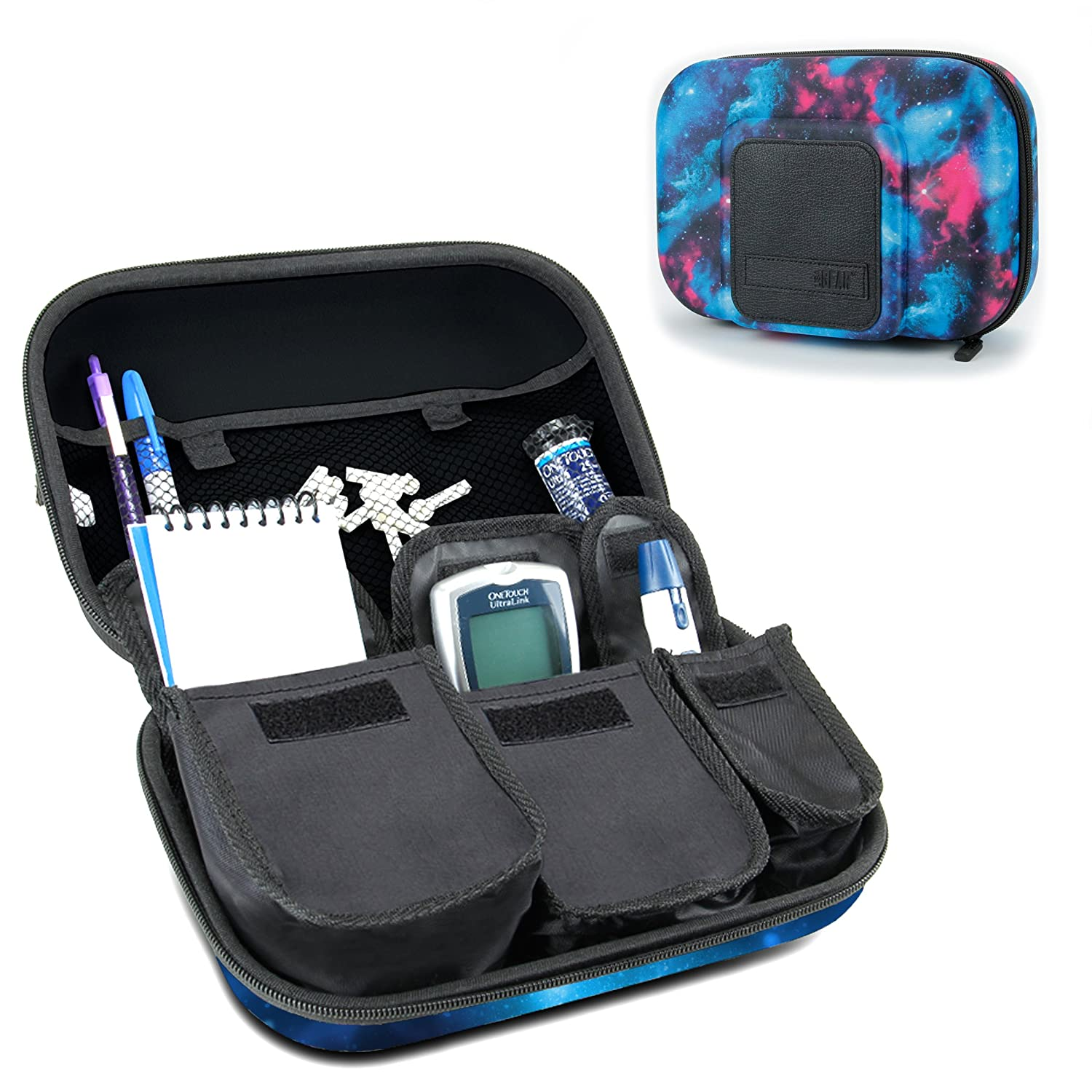 Diabetic Supplies Travel Case Organizer for Blood Glucose Monitoring Systems , Syringes , Pens , Insulin Vials & Lancets by USA Gear - ACCU-CHEK Nano , Bayer Contour , TRUEtest and More Kits Accessory Power