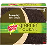 Scotch-Brite Greener Clean Heavy Duty Scrub Sponge, Made from 100% Plant-Based Fibers, 6-Sponges