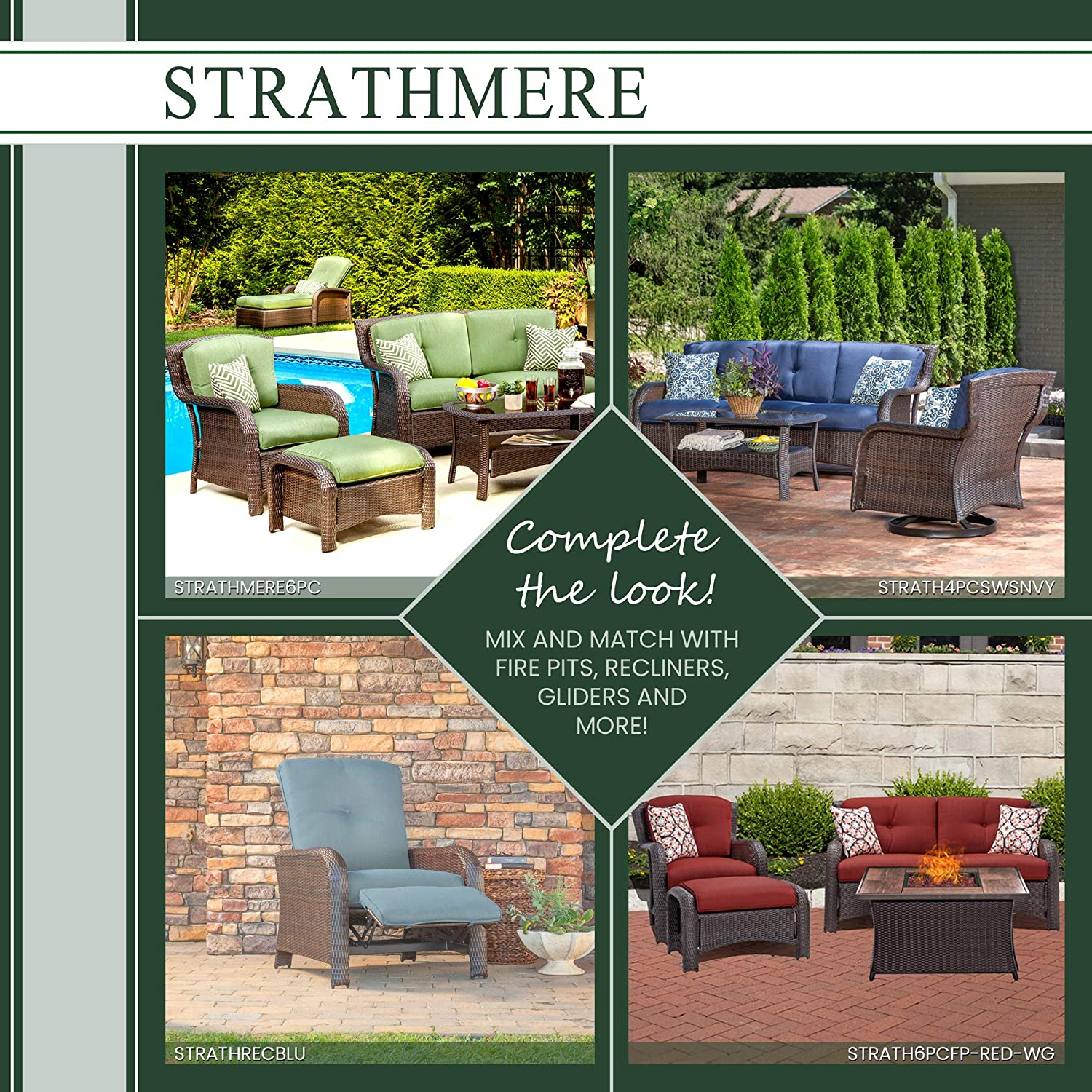 Hanover Strathmere 6-Piece Outdoor Patio Conversation Set, 2 Side Chairs with Ottomans, Loveseat and Tempered Glass Coffee Table, with Hand-Woven Wicker and Thick Cilantro Green Cushions, STRATHMERE6PC : Patio Loveseats : Garden & Outdoor
