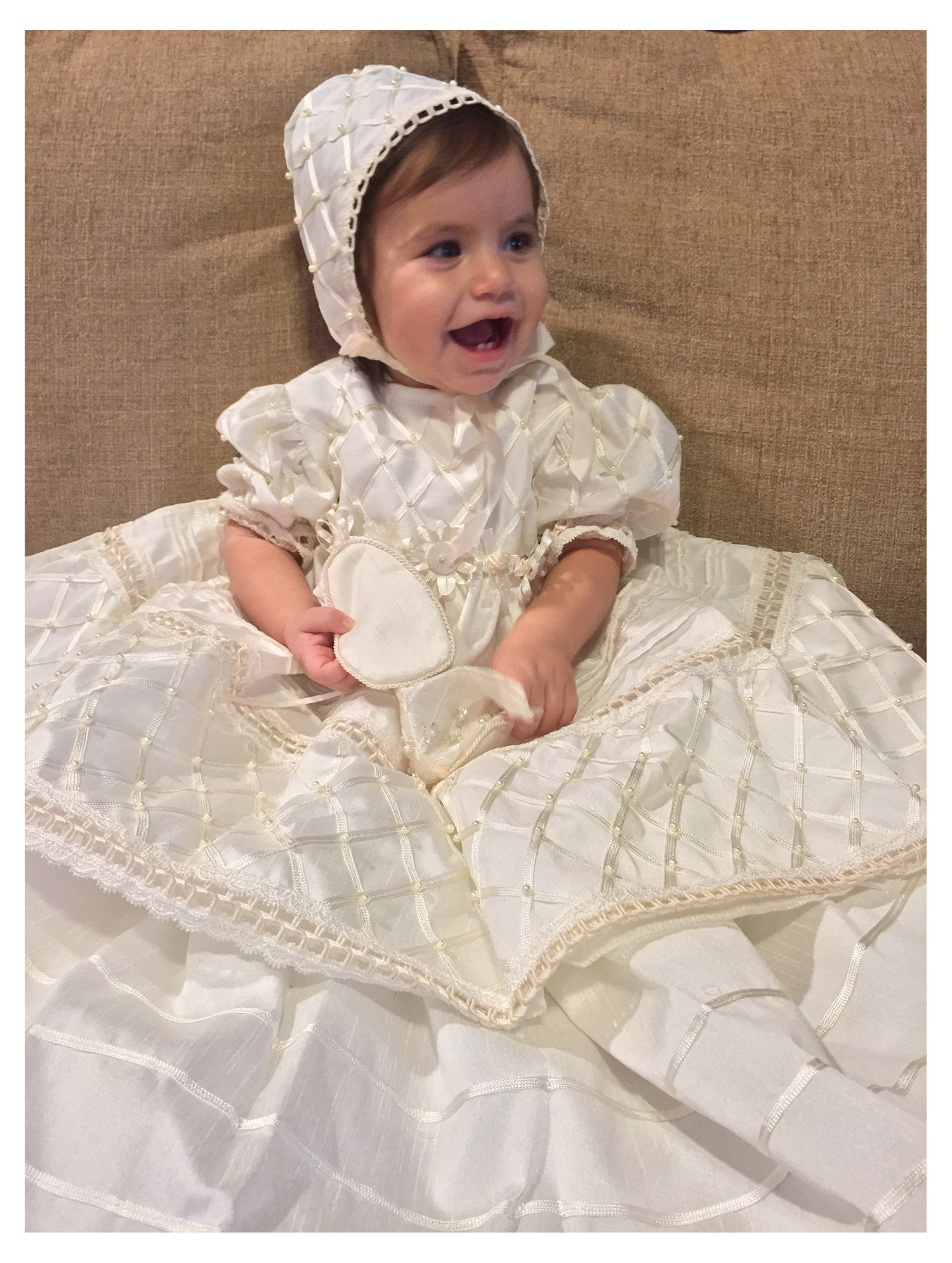 Baby-girls Heirloom Christening Baptism Gown Dress (Burbvus Ropones) Handmade - Silk by Burbvus (Image #2)