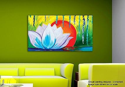 Dipinti Per Soggiorno : Tamatina tela dipinti white lotus in sunrise nature canvas art