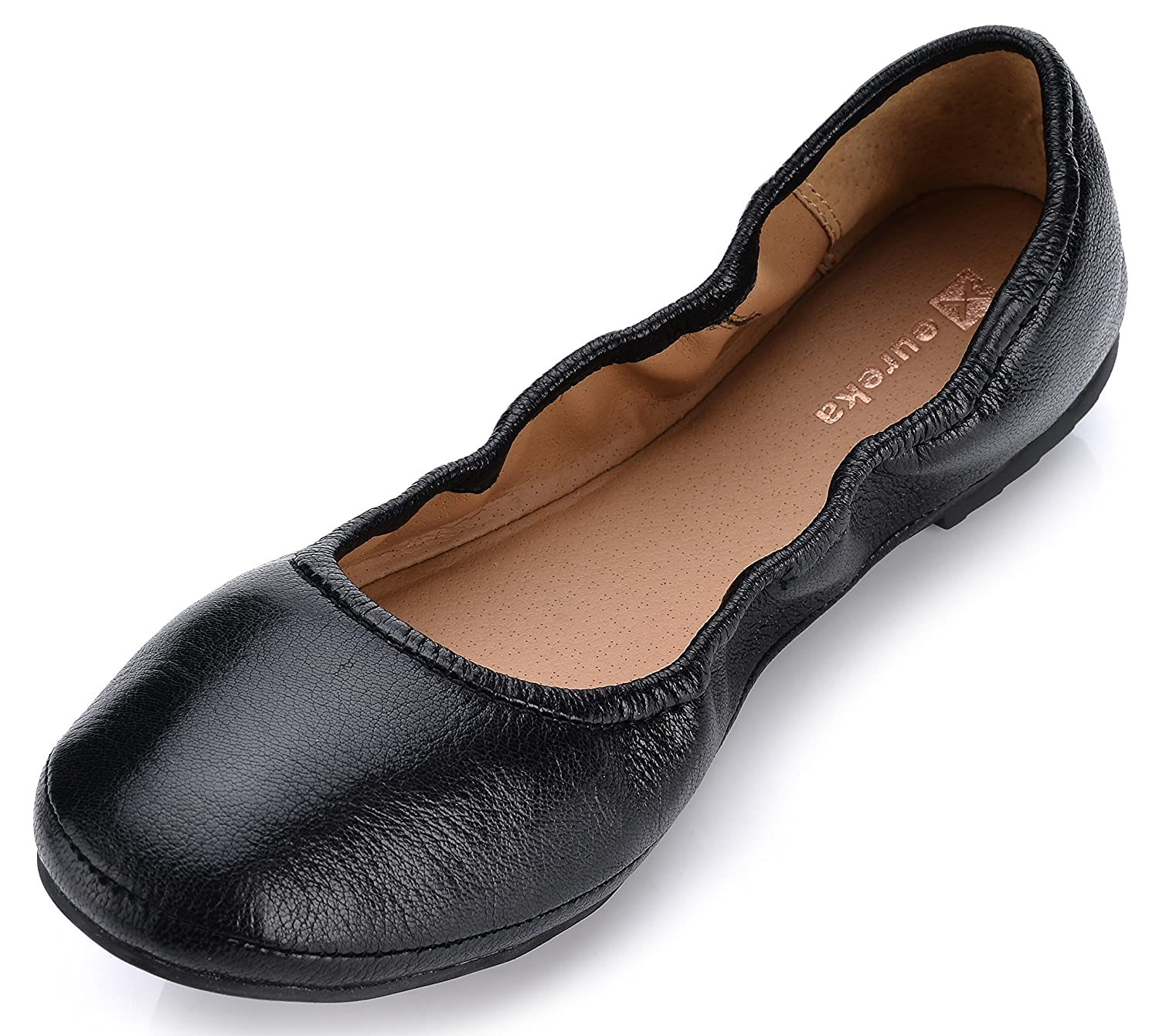 Eureka USA Women's Audrey Leather Ballet Flat B074V3LRGZ 7 B(M) US|201 Schwalz Black