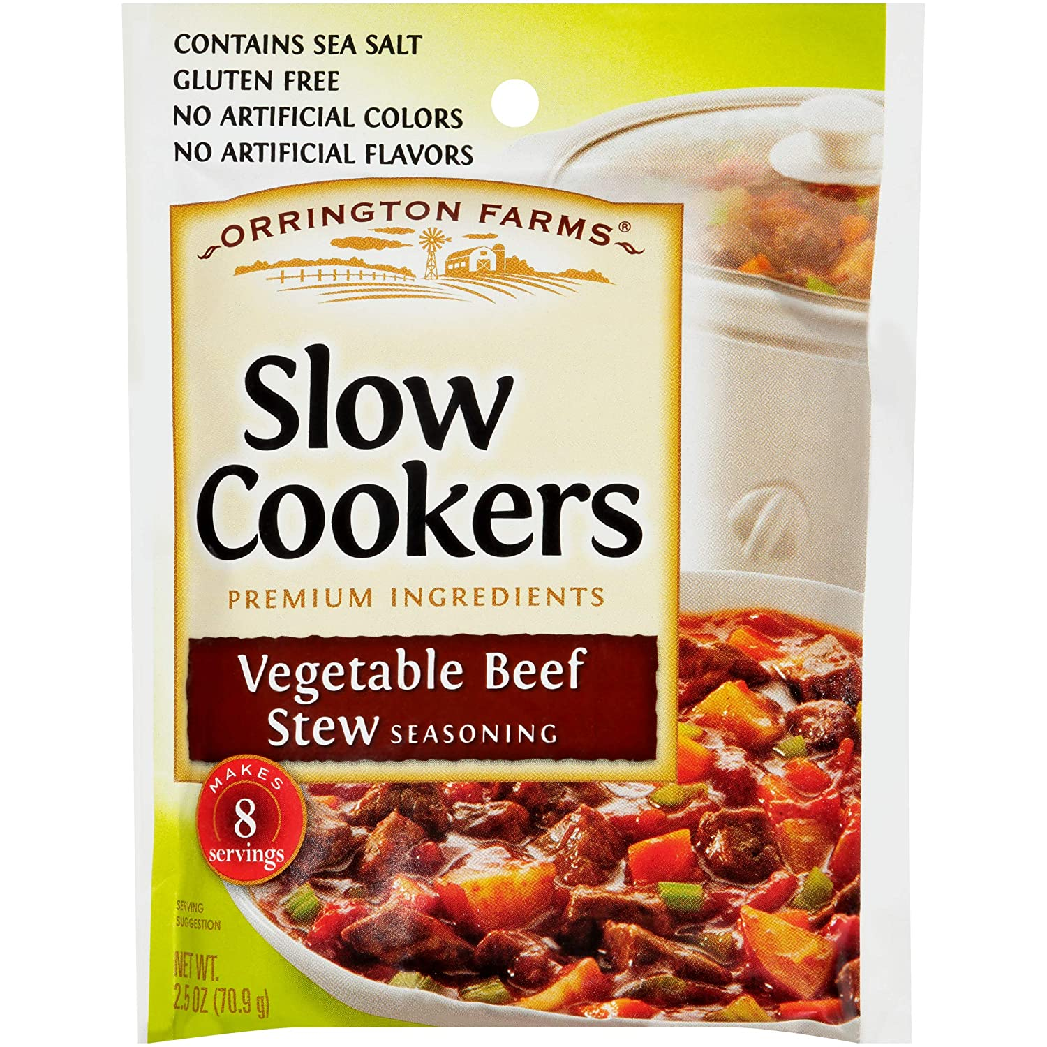 Amazon Com Orrington Farms Slow Cookers Vegetable Beef Stew Seasoning Mix 2 5 Ounce Pack Of 12 Grocery Gourmet Food