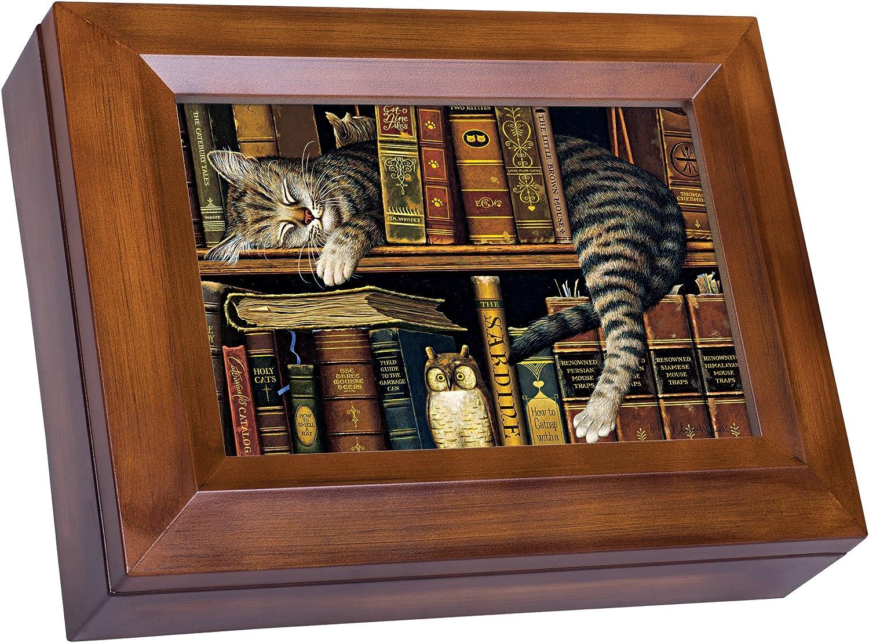 Cottage Garden Sleeping Cat on Bookshelf Woodgrain Digital Keepsake Music Box Plays Lean On Me