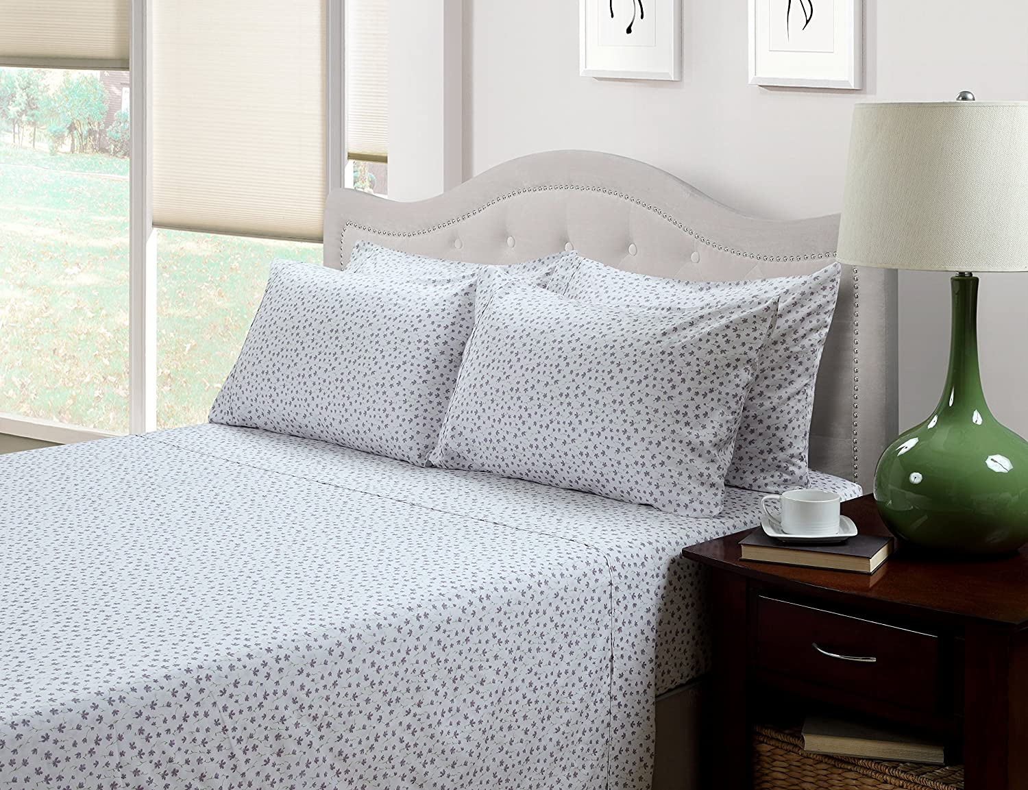 Lavender Floral Britannica Home Fashions 02031 214 West 300 Thread Count Ditsy Floral Printed Sheet Set Twin