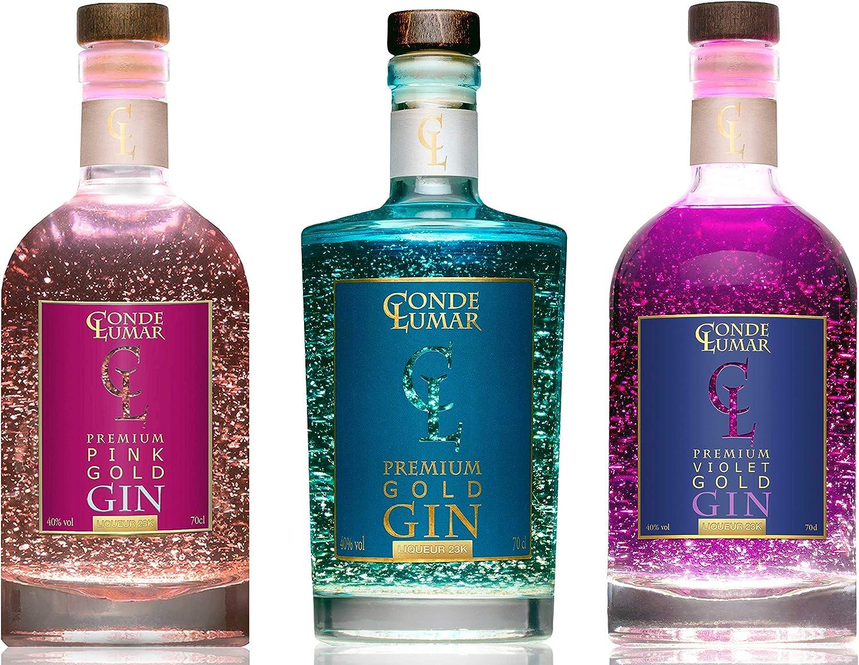 Pack 3 Gins con Oro Para Regalar - Premium Liqueur Gold 23K: Pink ...