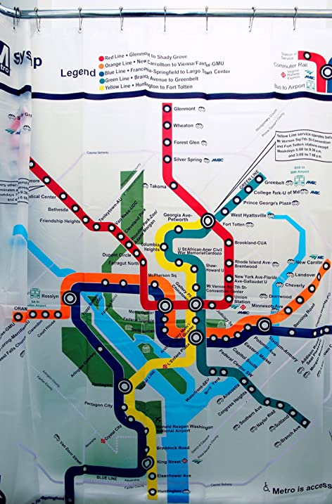 Izola PEVA Water And Mold Resistant Shower Curtain   Washington DC Map