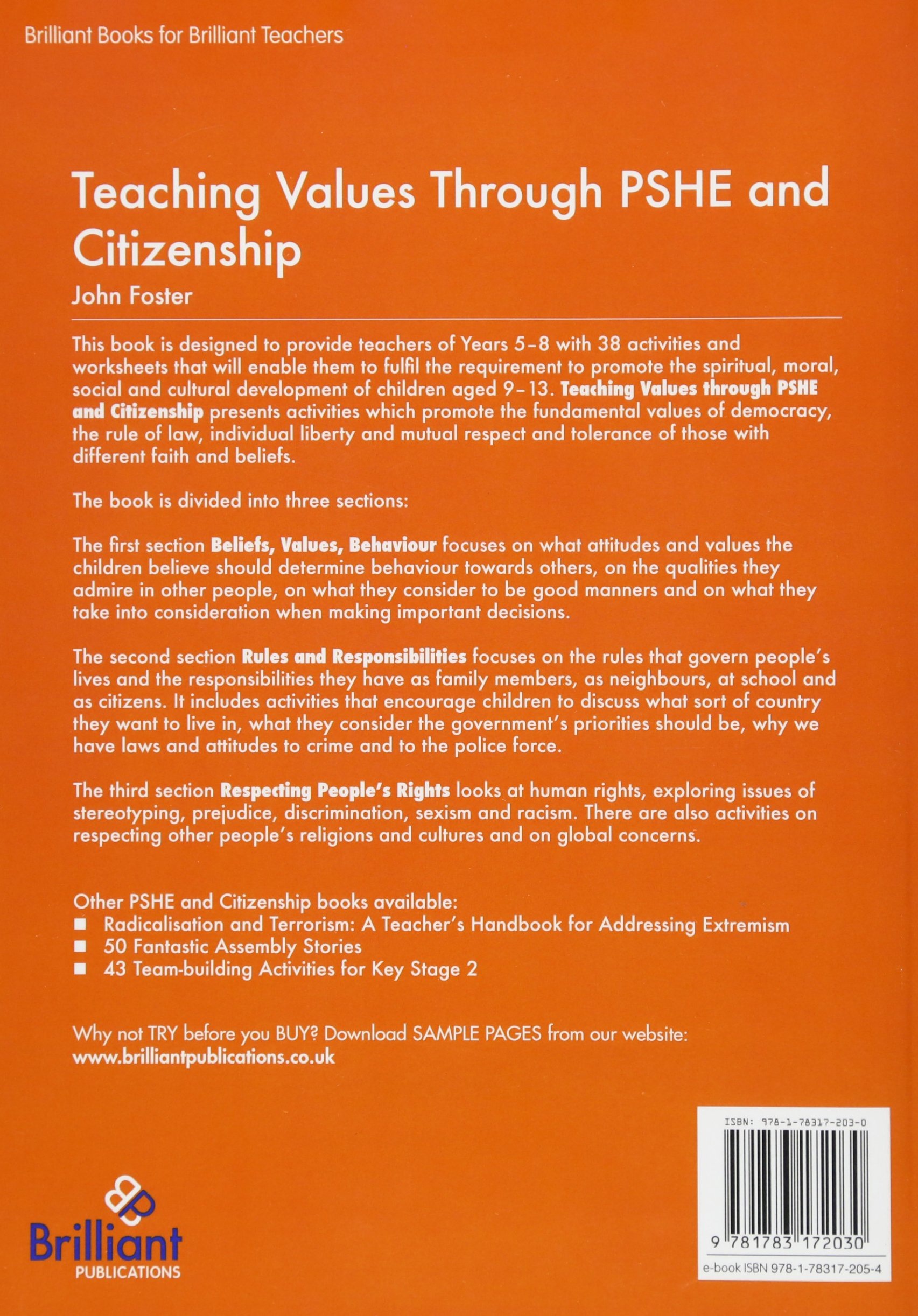 Buy Teaching Values through PSHE and Citizenship: Activities and
