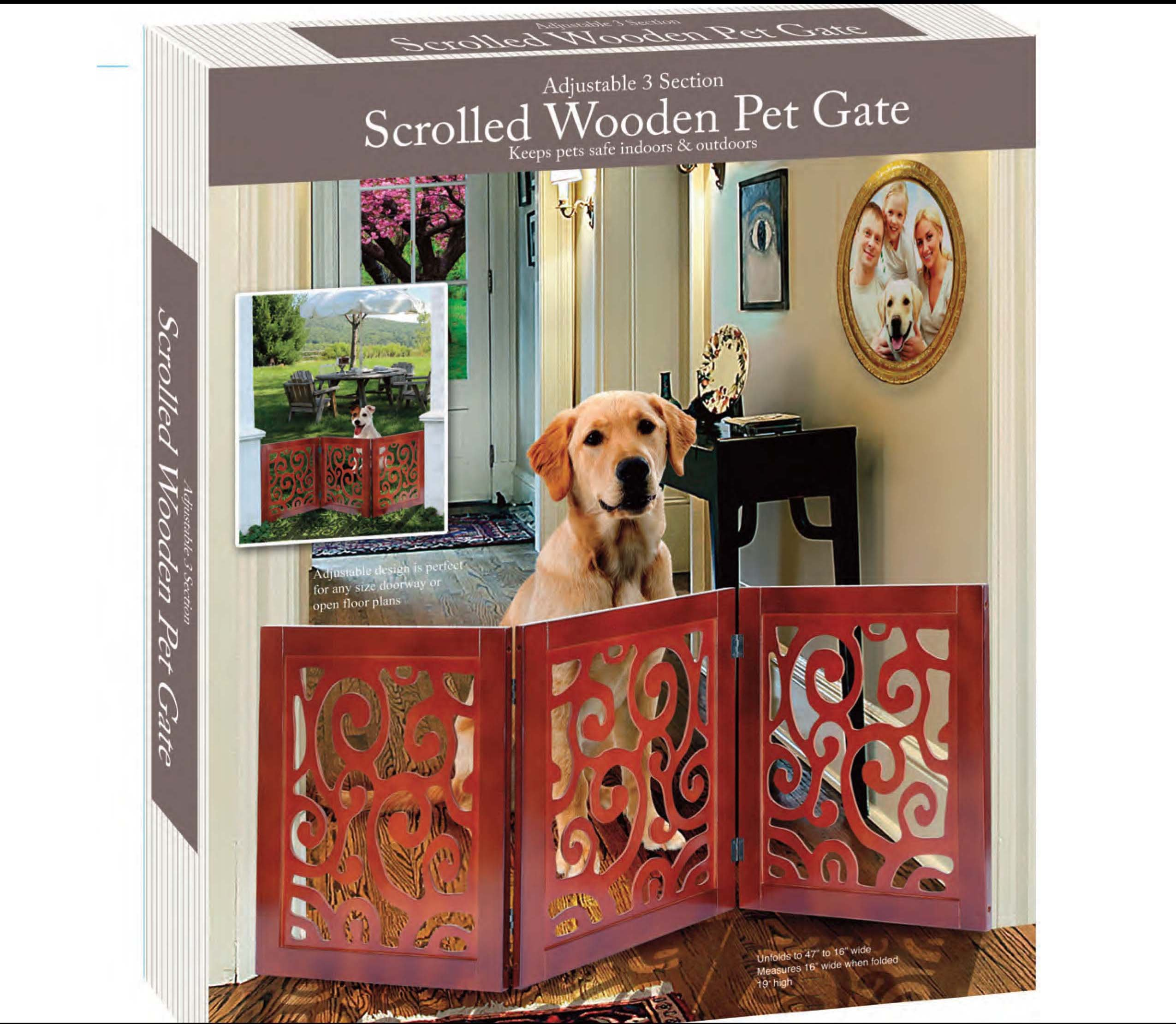 Die Cut 3 Panel Wood Scroll Motif Pet Gate