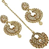Muchmore Gold Plated Crystal Made Earring With Mangtikka Set Women