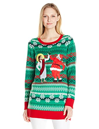 6b236272cad Amazon.com: Blizzard Bay Women's Santa and Jesus BFF's Ugly Christmas  Sweater Tunic: Clothing
