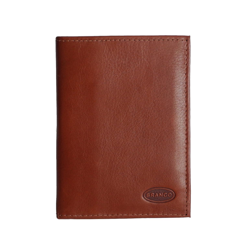 Branco Leder - kleine edle Dokumentenmappe, Ausweishülle, Führerscheinhülle, Kartenmappe in versch. Farben - präsentiert von ZMOKA® (Braun)