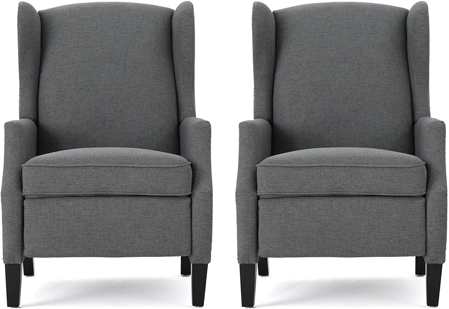 Christopher Knight Home Ellyn Fabric Recliner (Set of 2), Charcoal, Dark Brown
