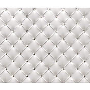 decomonkey Fototapete Leder weiß grau Deluxe 400x280 cm XXL Design Tapete  Fototapeten Vlies Tapeten Vliestapete Wandtapete moderne Wand Schlafzimmer  ...