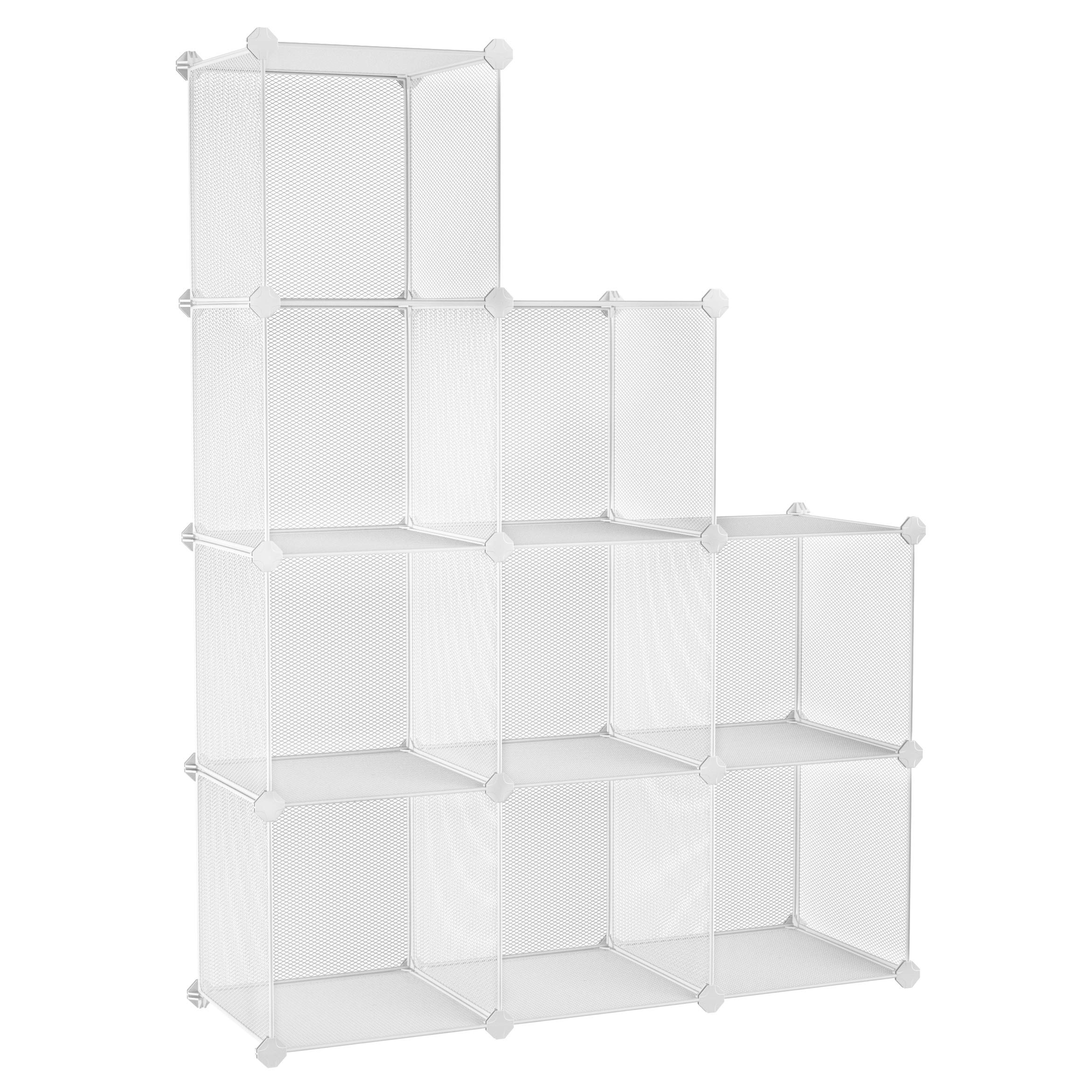 SONGMICS 9-Cube Metal Mesh Storage Cube, Storage Shelves Organizer, Modular Bookcase, DIY Closet Cabinet Shelf for Books, Plant, Toys, Shoes, Clothes 36.6 L x 12.2 W x 48.4 H Inches, White ULPL115WV1 by SONGMICS