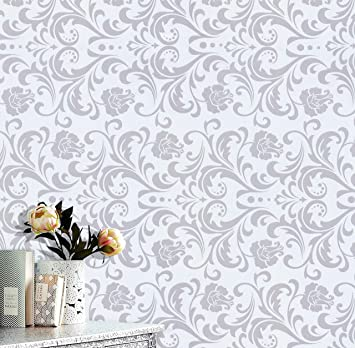 Gray Wall Contact Paper Removable Wallpaper White Flower White Wallpaper Peel And Stick Wallpaper White Paper Wall Decals Covering Self Adhesive Wallpaper Shelf Drawer Liner Vinyl Roll 17 7 X78 7 Amazon Com