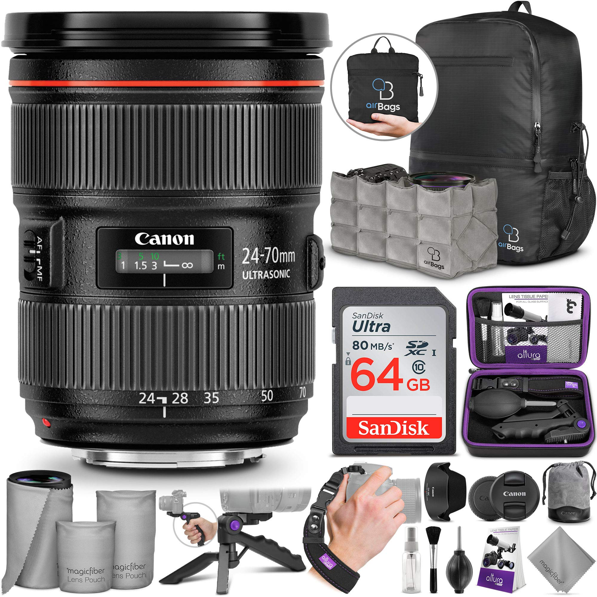 Canon EF 24-70mm f/2.8L II USM Standard Zoom Lens with Altura Photo Advanced Accessory and Travel Bundle by Canon