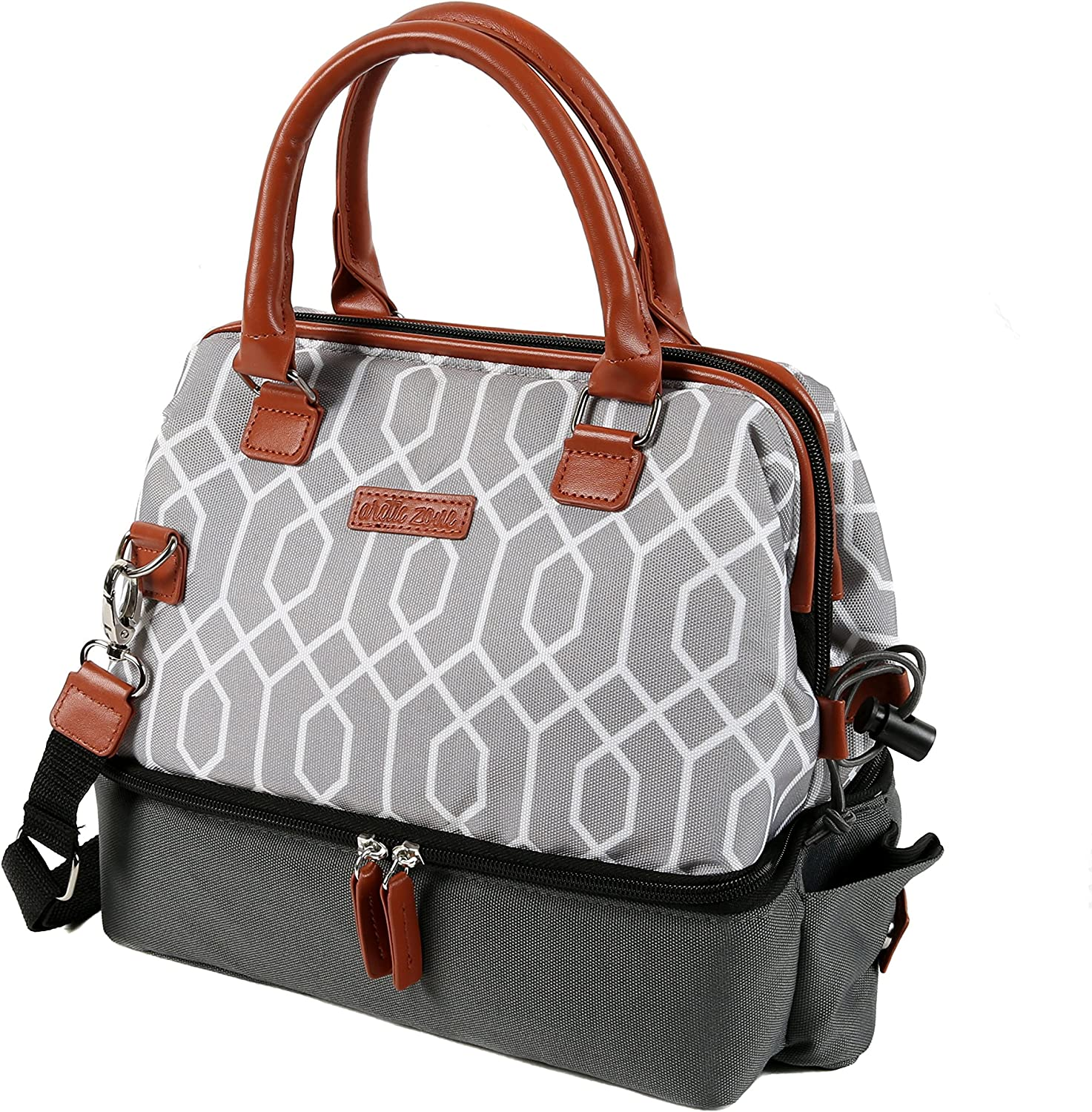 Arctic Zone Dual Compartment Insulated Lunch Tote, Gray