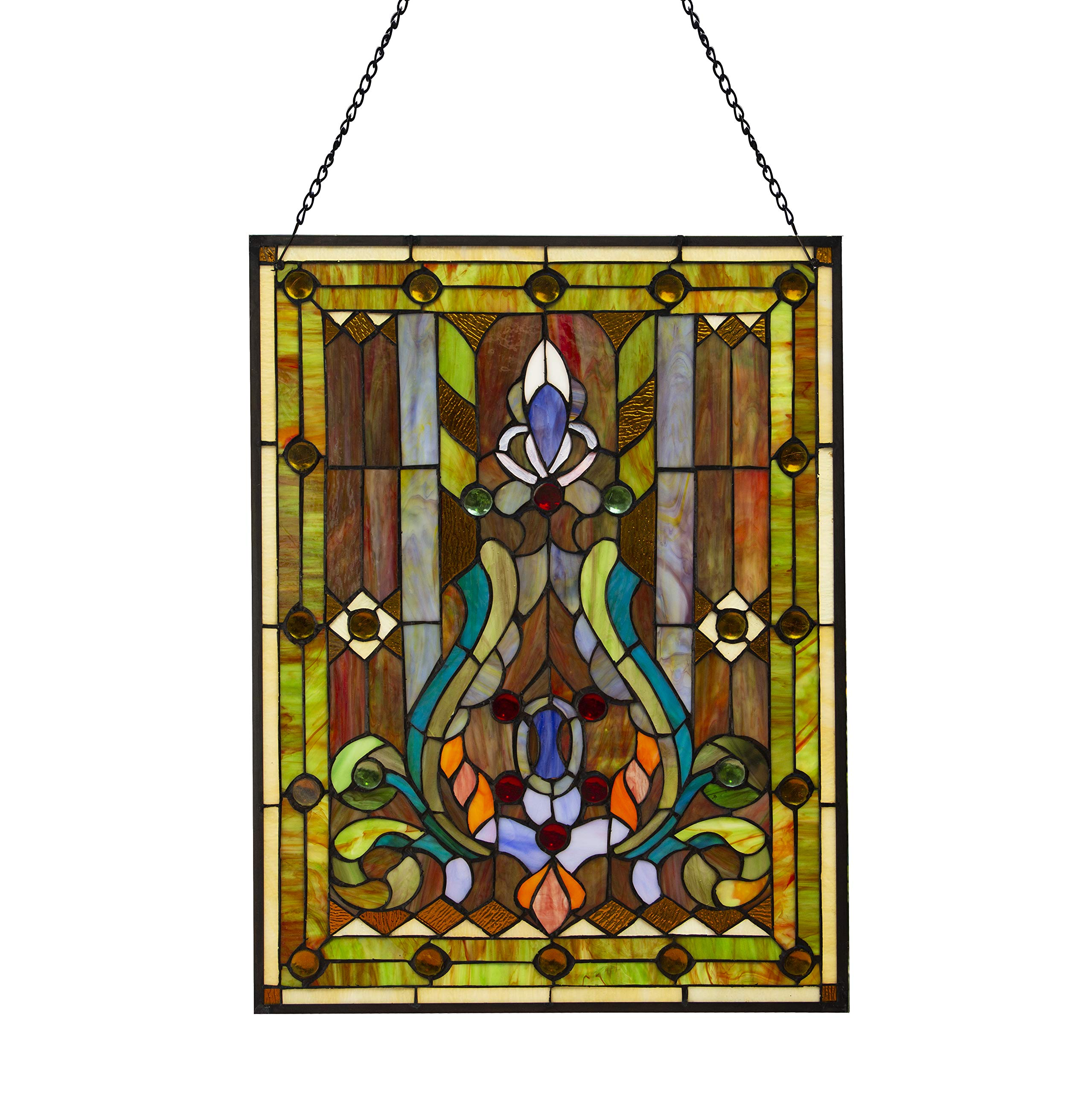 River of Goods Fleur De Lis 24.5 Inch High Stained Glass Window Panel, Brown, Yellow, Green, Blue by River of Goods