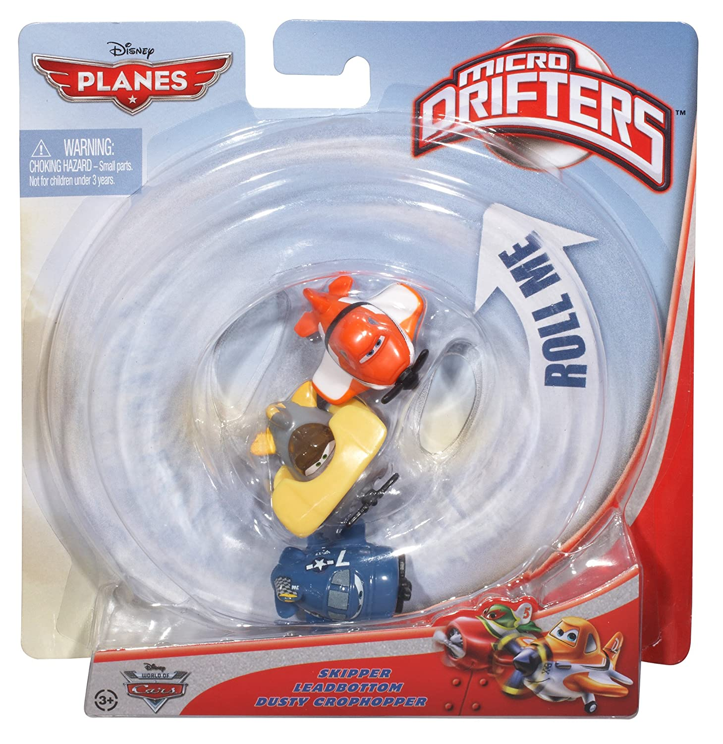 Disney Planes Micro Drifters Skipper Leadbottom and Dusty Vehicle 3-Pack