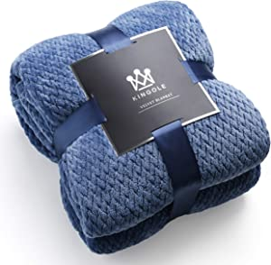 Kingole Flannel Fleece Luxury Throw Blanket, Sapphire Blue Twin Size Jacquard Weave Pattern Cozy Couch/Bed Super Soft and Warm Plush Microfiber 350GSM (66 x 90 inches)