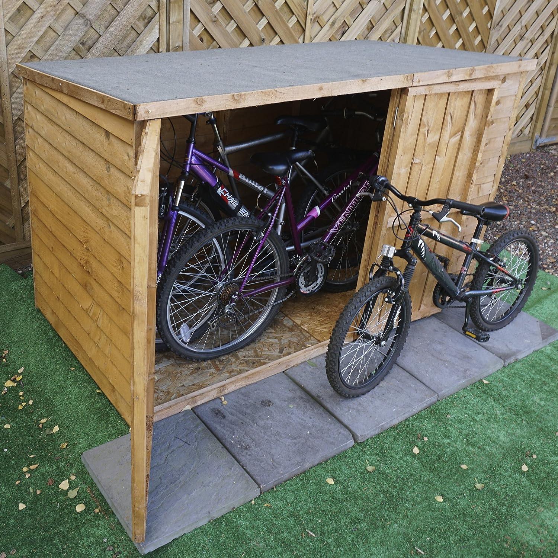 Caseta de madera superpuesta para almacenamiento de bicicletas de Waltons. Dos puertas, techo inclinado, suelo de tablero conglomerado OSB, ...