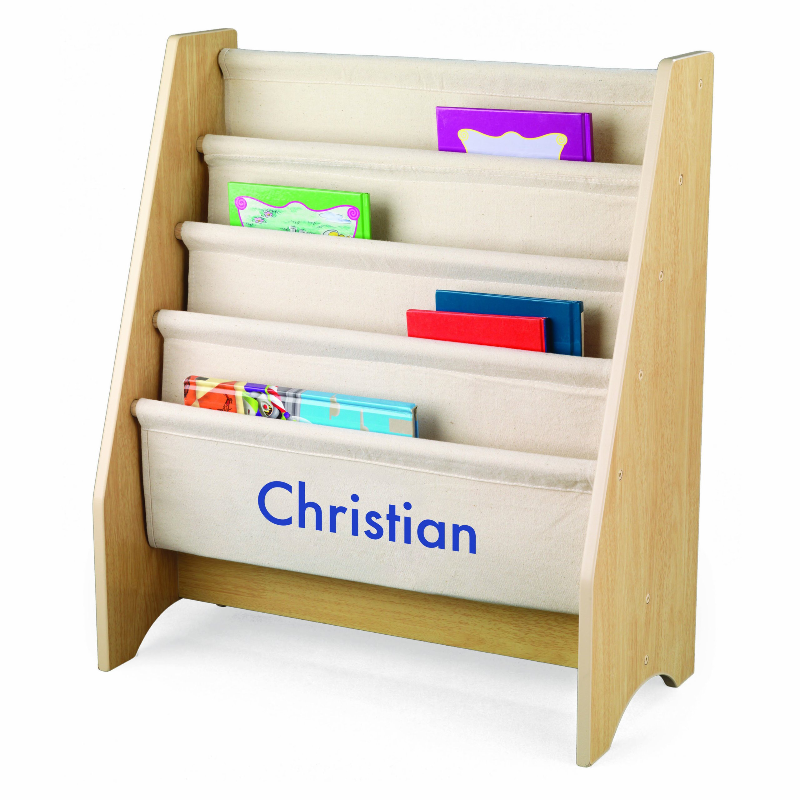 KidKraft Personalized Natural Sling Bookshelf with Blue Block - Christian by KidKraft