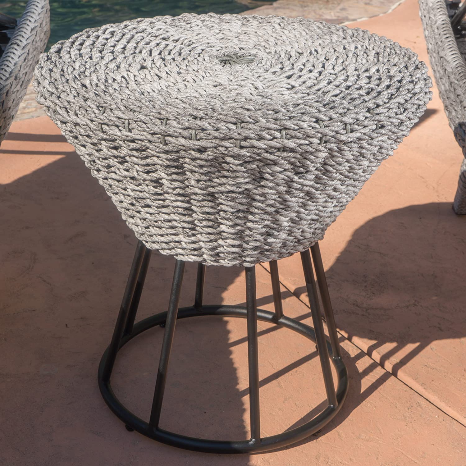 Christopher Knight Home Crete Outdoor Wicker Side Table, Grey
