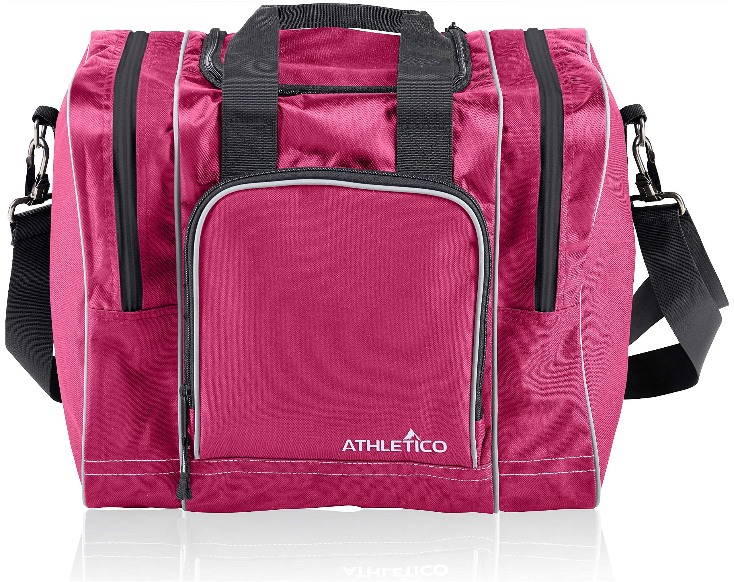 Athletico Bowling Bag for Single Ball - Single Ball Tote Bag with Padded Ball Holder - Fits a Single Pair of Bowling Shoes Up to Mens Size 14 (Pink) by Athletico
