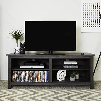 Merveilleux WE Furniture 58u0026quot; Wood TV Stand Storage Console, Charcoal