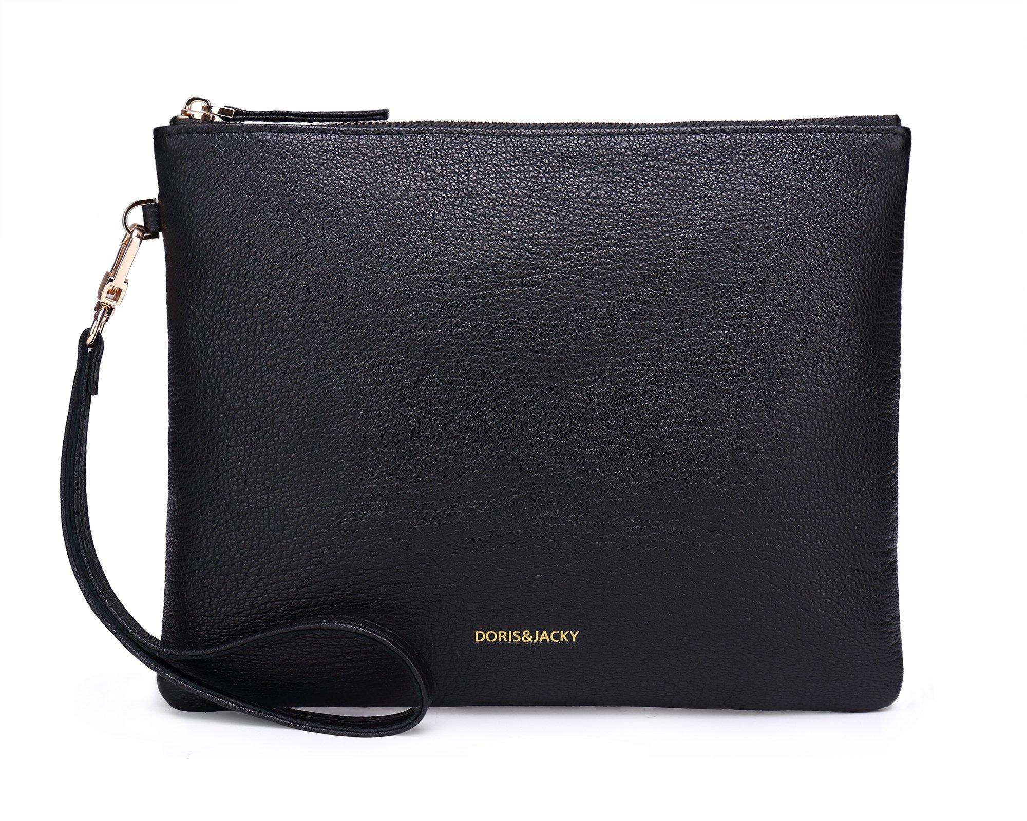 Soft Lambskin Leather Wristlet Clutch Bag For Women Designer Large Wallets With Strap (Black-Goat Leather)