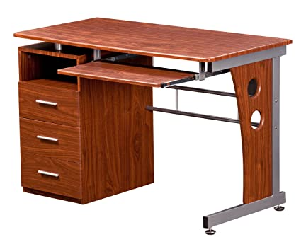 Bon Techni Mobili Computer Desk With Storage, Mahogany