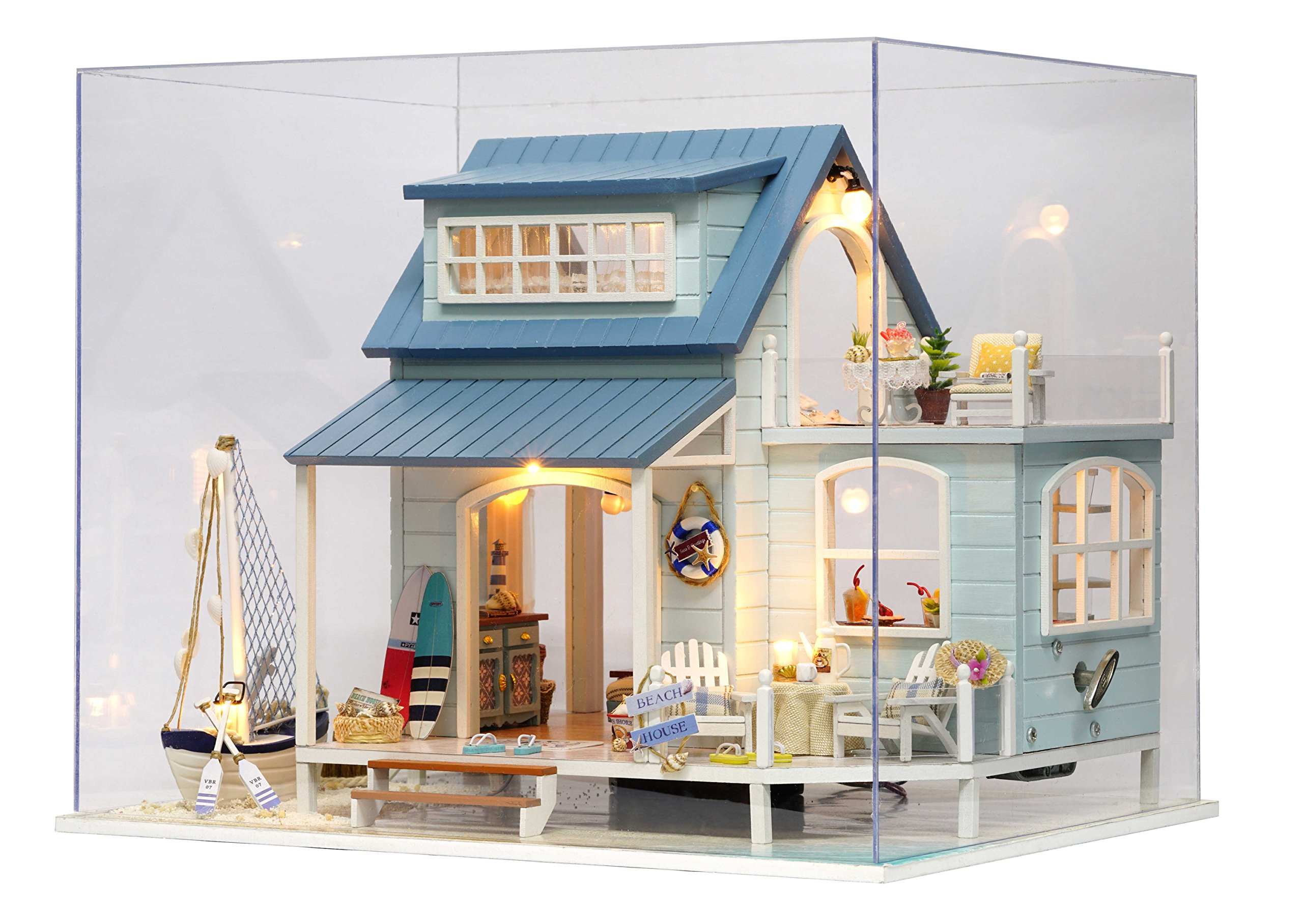 Flever Dollhouse Miniature DIY Musical House Kit Creative Room With Furniture for Romantic Valentine's Gift(Caribbean Captain)