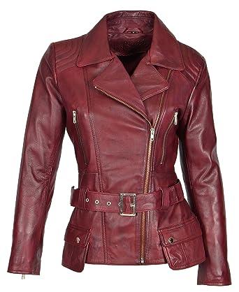 637e22a5f5e4f3 Damen Bikerjacke Burgund Leder Slim Fit Schnitt Mode Designer Hüftlänge  Mantel - Coco (XS -