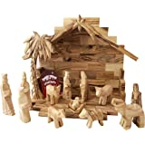 Amazon Com Olive Wood Nativity Set With Stable Deluxe