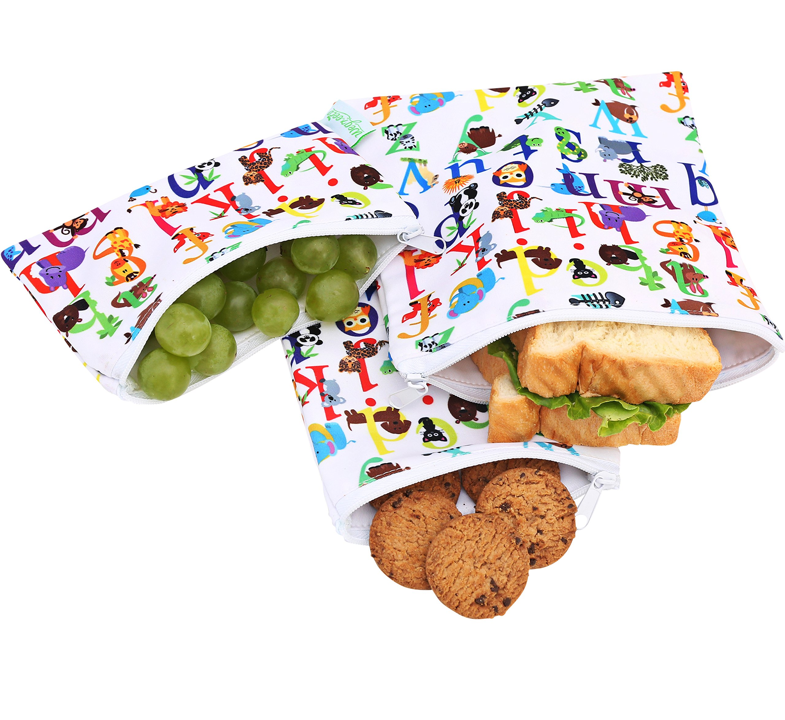 Wegreeco Reusable Snack Bags, (Set of 3) - Animal Alphabet