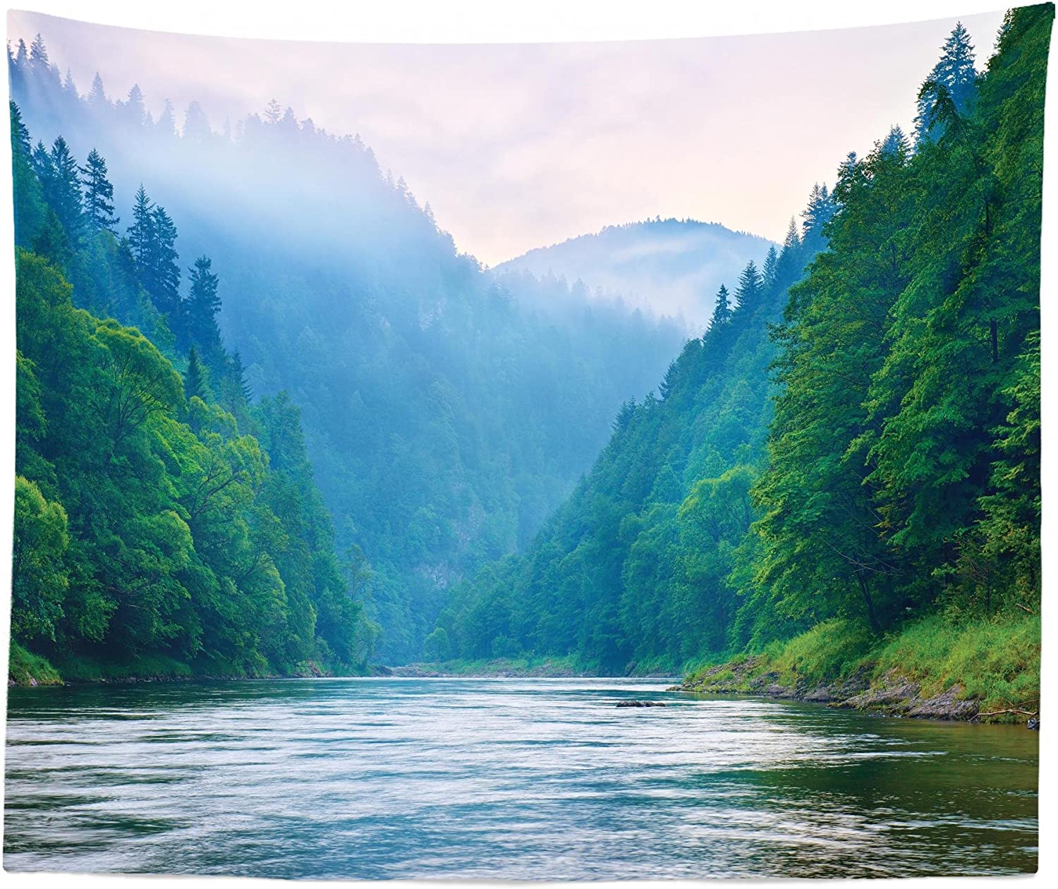 Lunarable River Tapestry King Size Morning Mist Over Dunajec Pieniny Mountain Gorge Over River Stream Forest Wall Hanging Bedspread Bed Cover Wall Decor 104 X 88 Lilac Green Home Kitchen