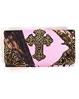 Pink Mossy Oak Camo Trifold Wallet Womens Rhinestone Cross Clutch Brown Trim